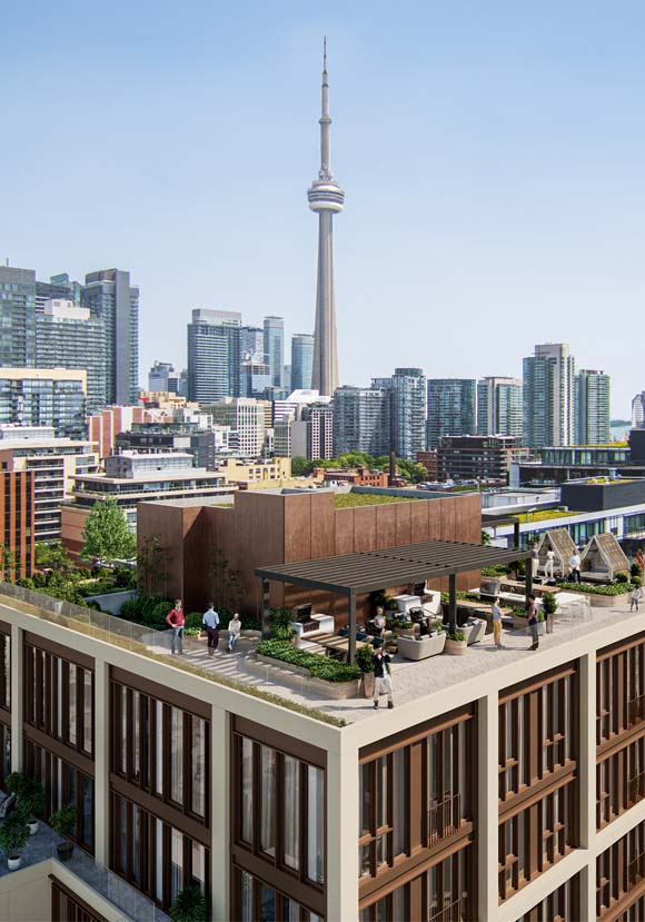 View of the outdoor green rooftop at 123 Portland in Toronto. New condo building in King West, Toronto. Minto Communities.