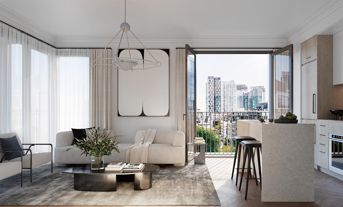 Interior suite at 123 Portland. New condo building in King West, Toronto. Minto Communities.