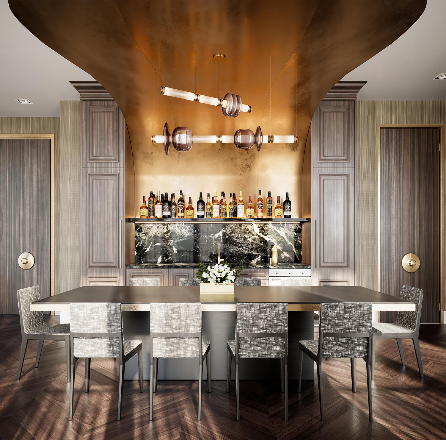 Kitchen Bar + Dining Room at 123 Portland in Toronto. Condo in King West by Minto Communities.