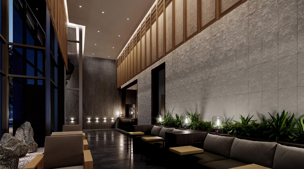 View of The Saint lobby, Minto Communities. Amenities for the new condos for sale at Church & Adelaide, Toronto.
