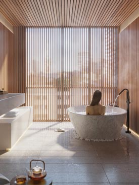 Spa Room at The Saint, Minto Communities. Amenities for the new condos for sale at Church & Adelaide, Toronto.