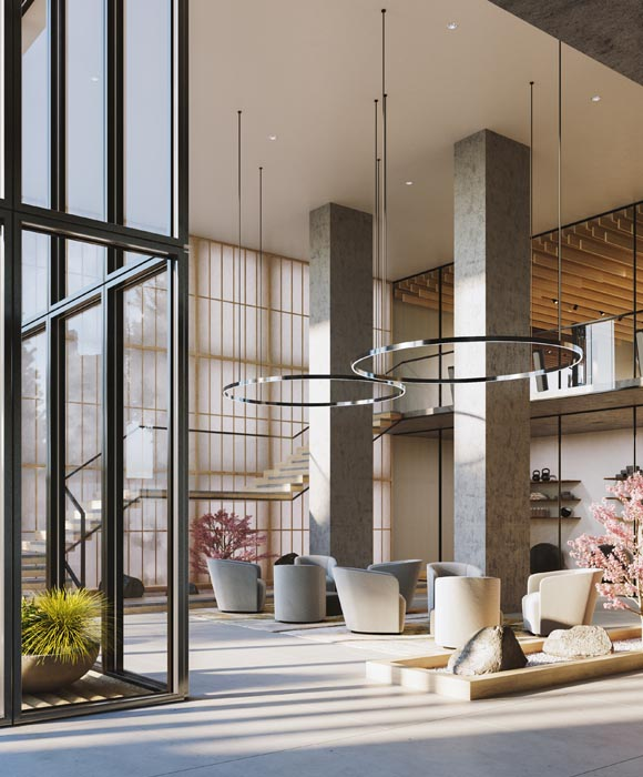 Double height Wellness Centre at The Saint, Minto Communities. Amenities for the new condos for sale at Church & Adelaide, Toronto.