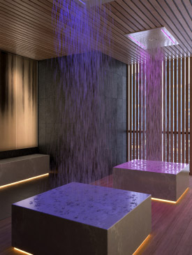Rain Room at The Saint, Minto Communities. Amenities for the new condos for sale at Church & Adelaide, Toronto.