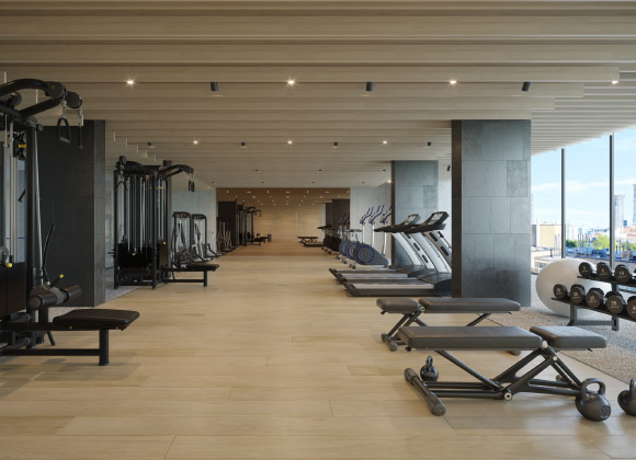 The gym in the Health Centre at The Saint. Amenities for the new condos for sale at Church & Adelaide, Toronto.