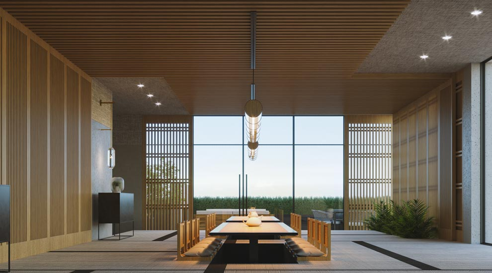 Japanese style dining amenity space. Amenities of the new condos for sale at Church & Adelaide, Toronto. The Saint by Minto Communities.