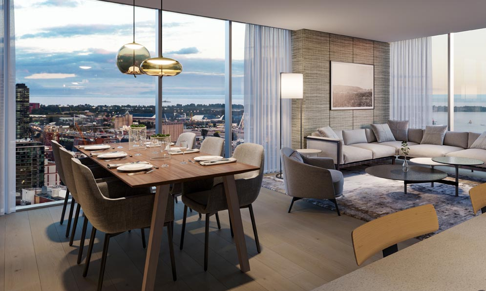 Large open kitchen and living area at The Saint. New condo building at Church & Adelaide, Toronto. Minto Communities.