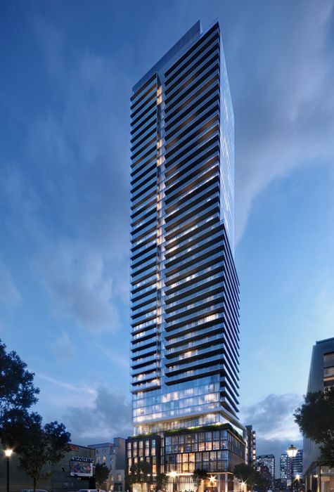 Exterior building rendering of The Saint. Condo for sale in downtown Toronto by Minto Communities.
