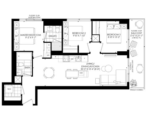 A sample three bedroom suite at The Saint