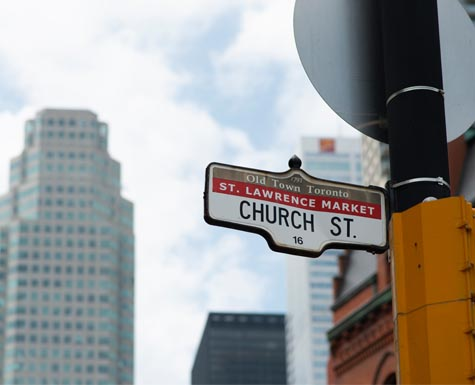Church Street in Downtown Toronto near The Saint condo by Minto Communities.