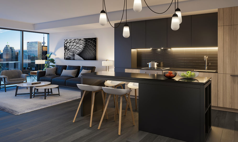 Sample condo suite at The Saint. New condo building at Church & Adelaide, Toronto. Minto Communities.