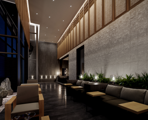 The lobby at The Saint with biophilic designs. Condos for sale at Church & Adelaide by Minto Communities.