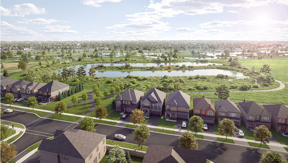 Rendering of Arcadia Neighbourhood in Kanata. New homes for sale in Ottawa, Arcadia by Minto Communities