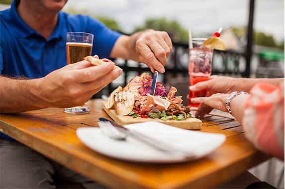 Eating on the patio at the Black Dog Bistro in Manotick. 5 must try Manotick restaurants.