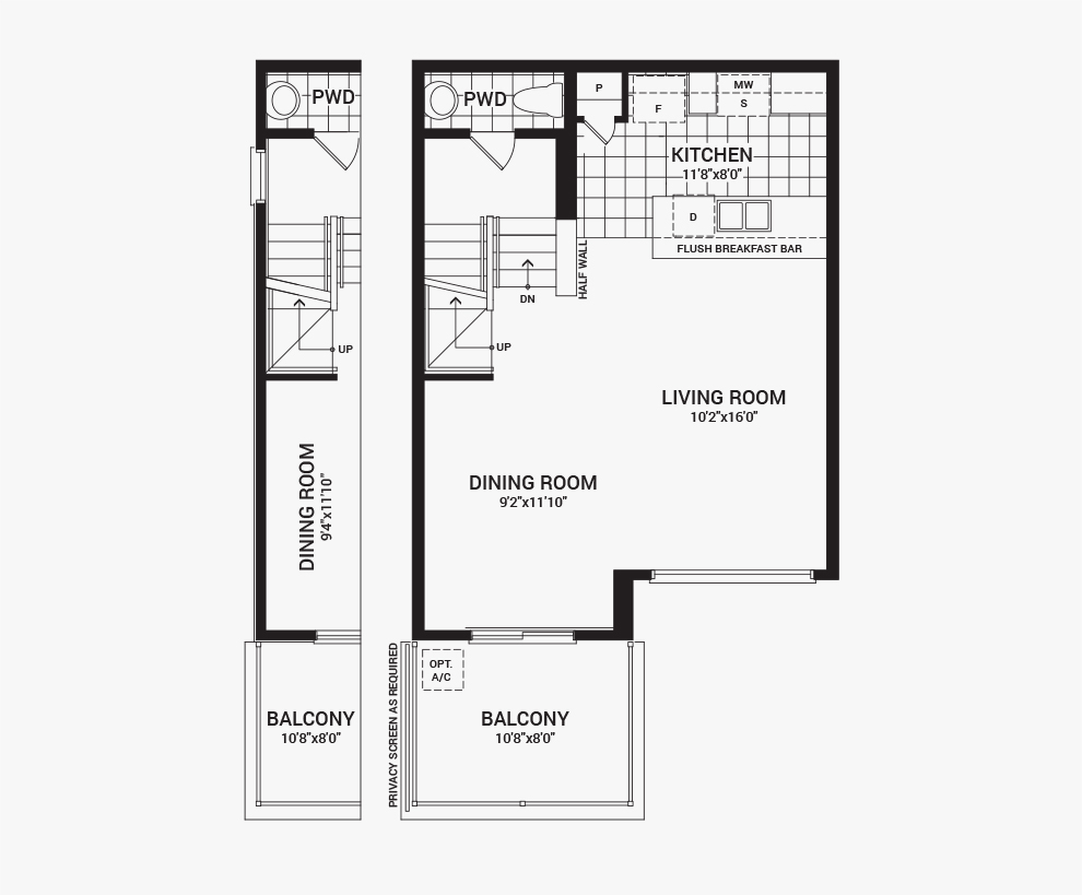Floorplan of the second floor of the Downing home design, a Avenue Townhome available for sale in Avalon, Orleans.