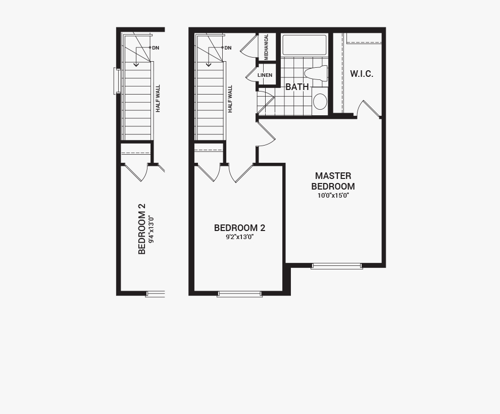 Floorplan of the third floor of the Downing home design, a Avenue Townhome available for sale in Avalon, Orleans.
