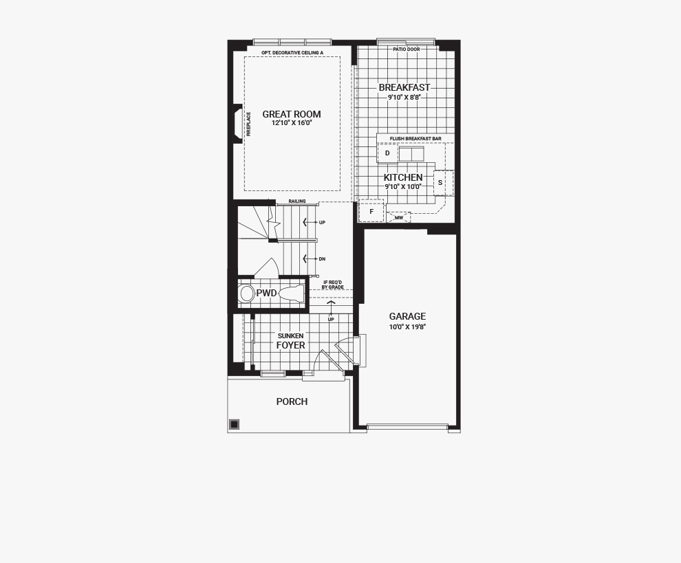 Floorplan of the main floor of the Bellevue home design, a 30' Single Family Home available for sale in Avalon, Orleans.