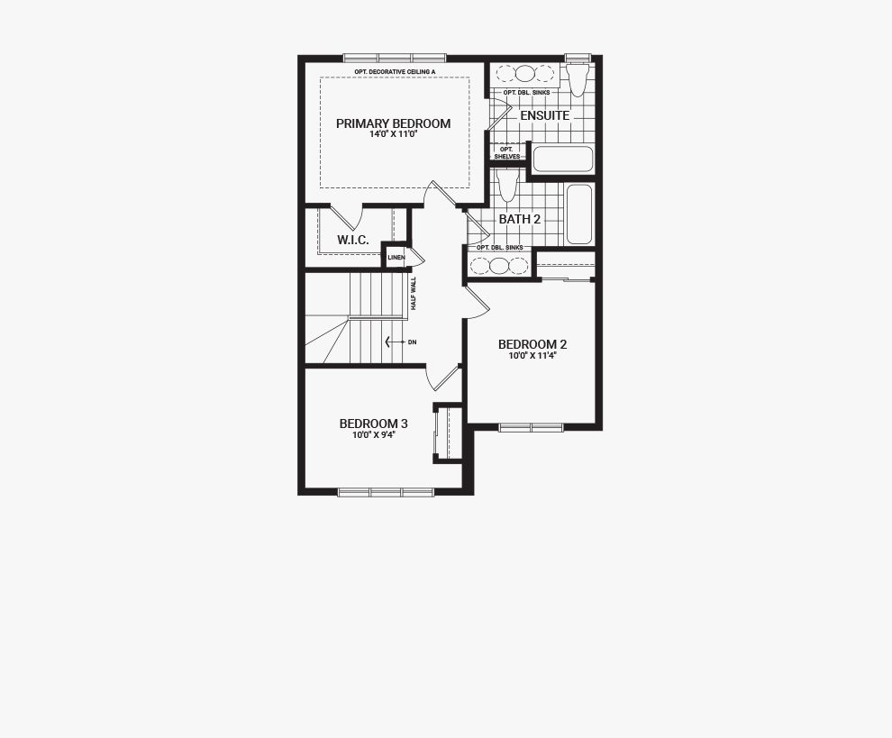 Floorplan of the second floor of the Bellevue home design, a 30' Single Family Home available for sale in Avalon, Orleans.