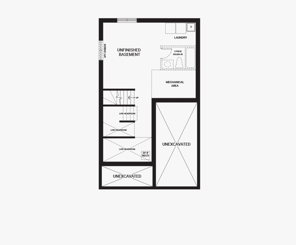 Floorplan of the basement of the Bellevue home design, a 30' Single Family Home available for sale in Avalon, Orleans.