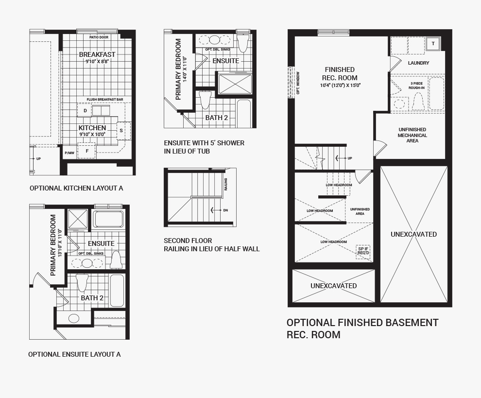Floorplan of the flex plans of the Bellevue home design, a 30' Single Family Home available for sale in Avalon, Orleans.