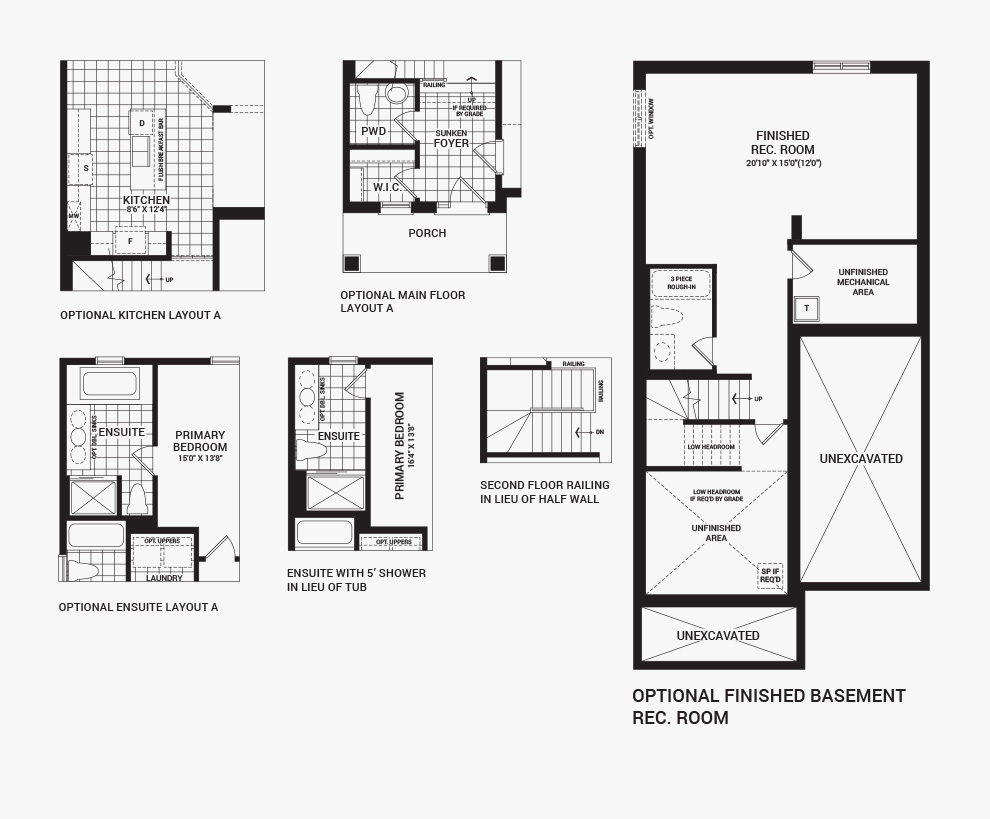 Floorplan of the flex plans of the 3 bedroom Kinghurst home design, a 30' Single Family Home available for sale in Avalon, Orleans.