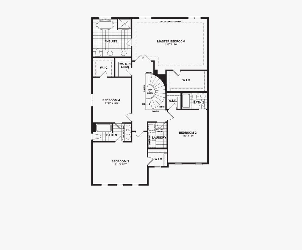 Floorplan of the second floor of the Okanagan home design, 43' Single Family Homes available for sale in Quinn's Pointe, Barhaven.
