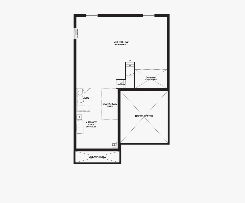 Floorplan of the basement of the Okanagan home design, 43' Single Family Homes available for sale in Quinn's Pointe, Barhaven.