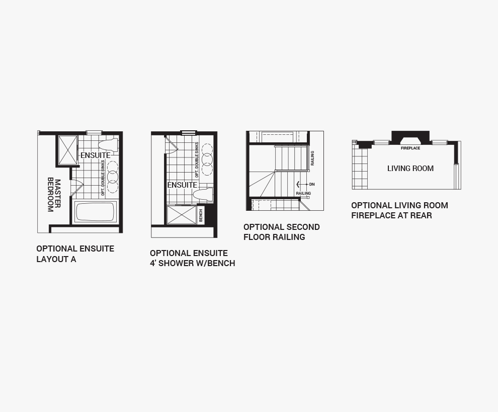 Floorplan of the flex plans of the Venice Corner home design, Executive Townhomes available for sale in Quinn's Pointe, Barhaven.