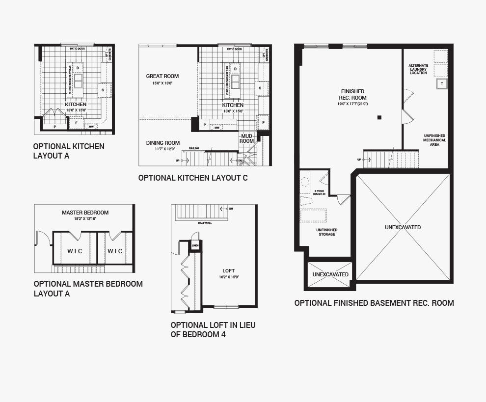 Floorplan of the flex plans of the Brierwood home design, a 38' Single Family Homes available for sale in Mahogony, Manotick.