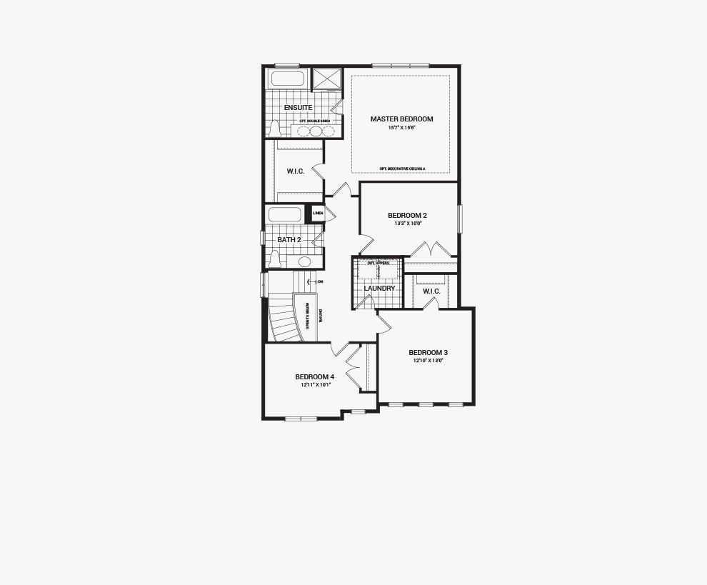 Floorplan of the second floor of the Sugarplum home design, a 38' Single Family Homes available for sale in Mahogony, Manotick.