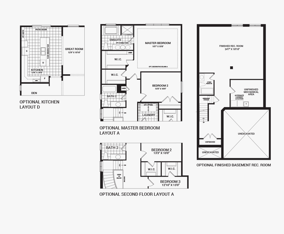 Floorplan of the flex plans of the Sugarplum home design, a 38' Single Family Homes available for sale in Mahogony, Manotick.