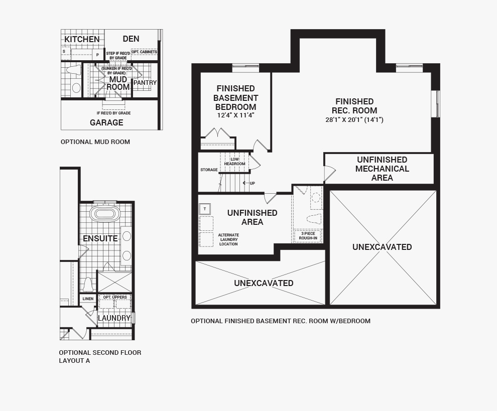 Floorplan of the flex plans of the Dahlia home design, a 52' Single Family Homes available for sale in Mahogony, Manotick.