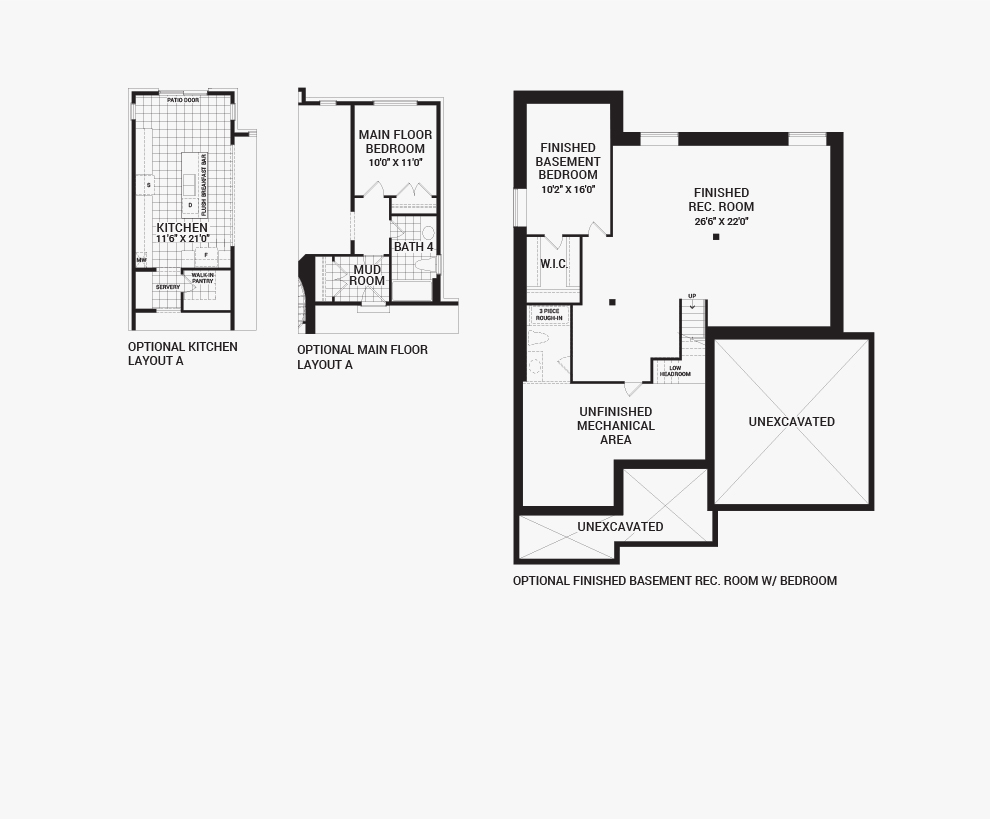 Floorplan of the flex plans of the Elderberry II home design, a 52' Single Family Homes available for sale in Mahogony, Manotick.