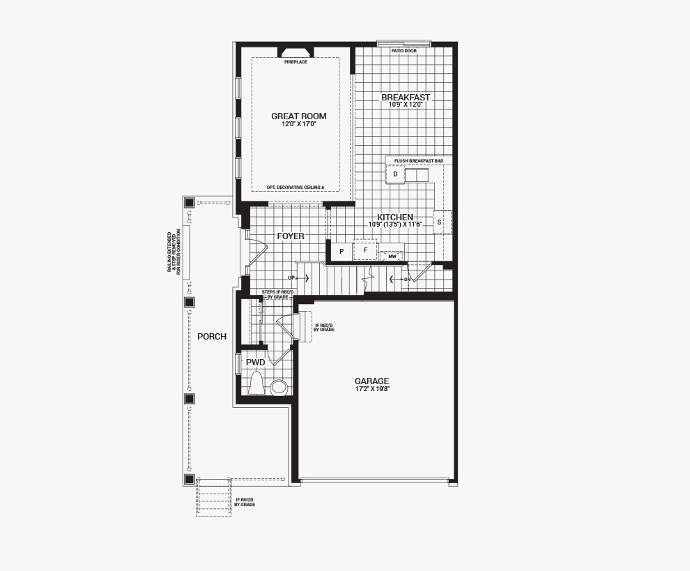 Floorplan of the main floor of the 3 bedroom Talbot Corner home design, a 30' Single Family Home available for sale in Avalon, Orleans.