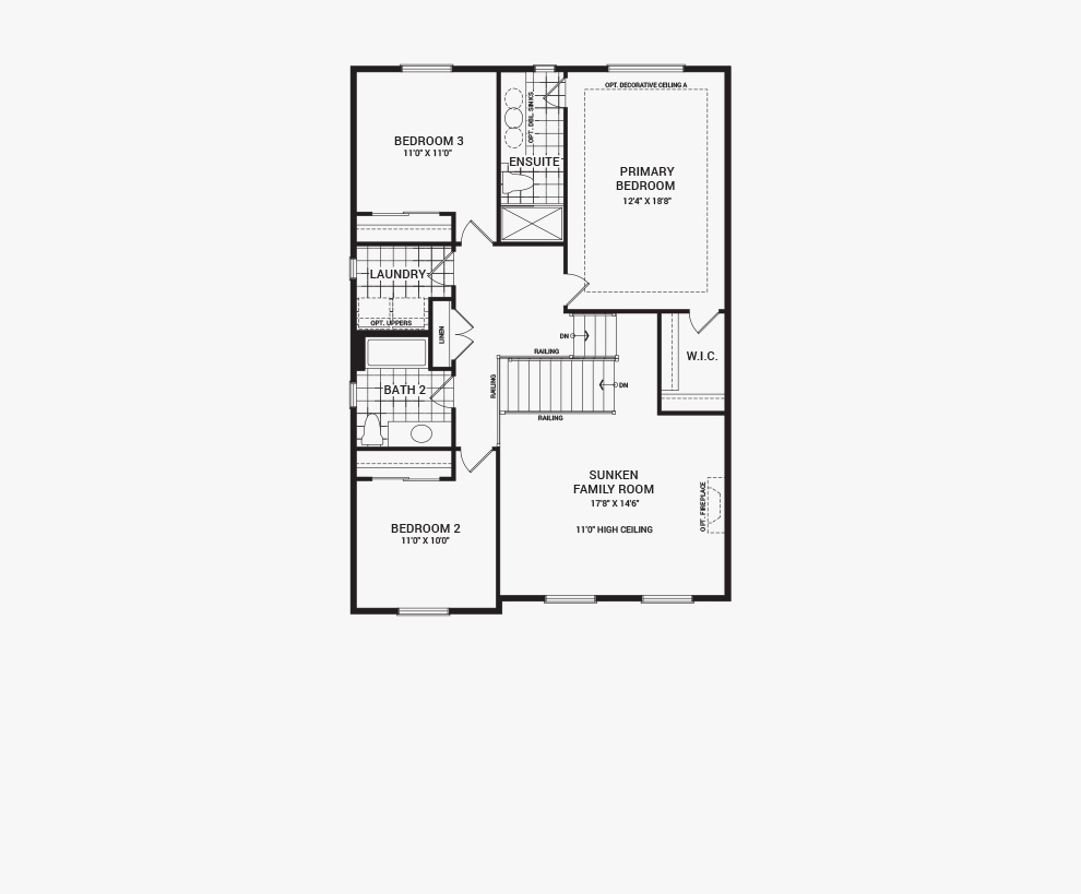 Floorplan of the second floor of the Fairbank home design, a 36' Single Family Home available for sale in Avalon, Orleans.