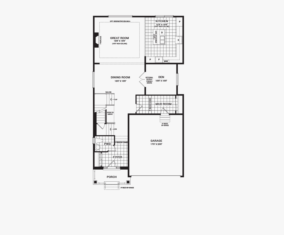 Floorplan of the main floor of the Waverley home design, a 36' Single Family Home available for sale in Quinn's Pointe, Barrhaven