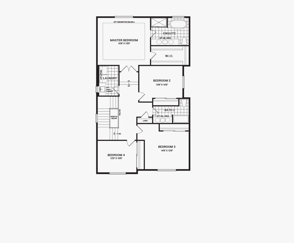 Floorplan of the second floor of the Waverley home design, a 36' Single Family Home available for sale in Quinn's Pointe, Barrhaven
