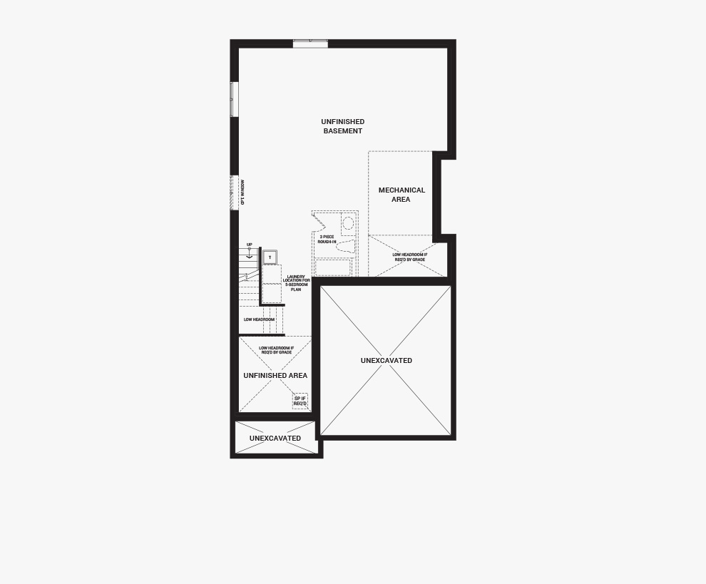 Floorplan of the basement of the Waverley home design, a 36' Single Family Home available for sale in Quinn's Pointe, Barrhaven