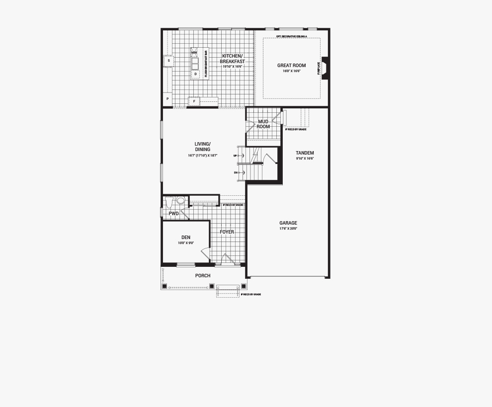 Floorplan of the main floor of the Quinton home design, a 43' Single Family Home available for sale in Quinn's Pointe, Barrhaven