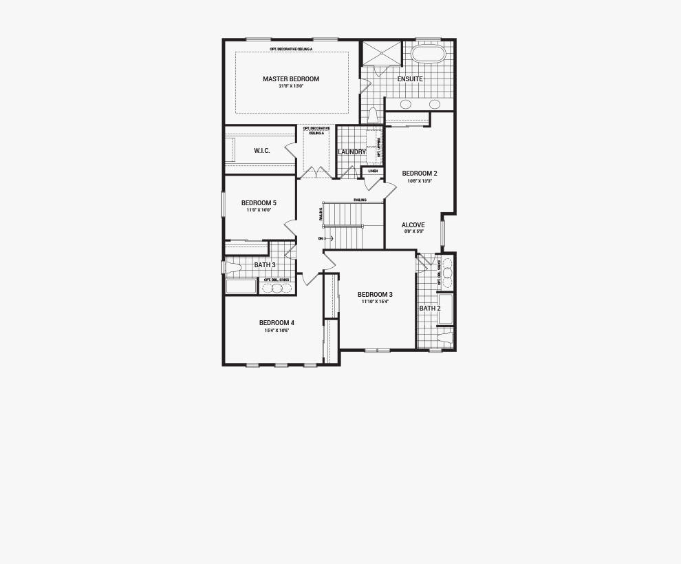 Floorplan of the second floor of the Quinton home design, a 43' Single Family Home available for sale in Quinn's Pointe, Barrhaven