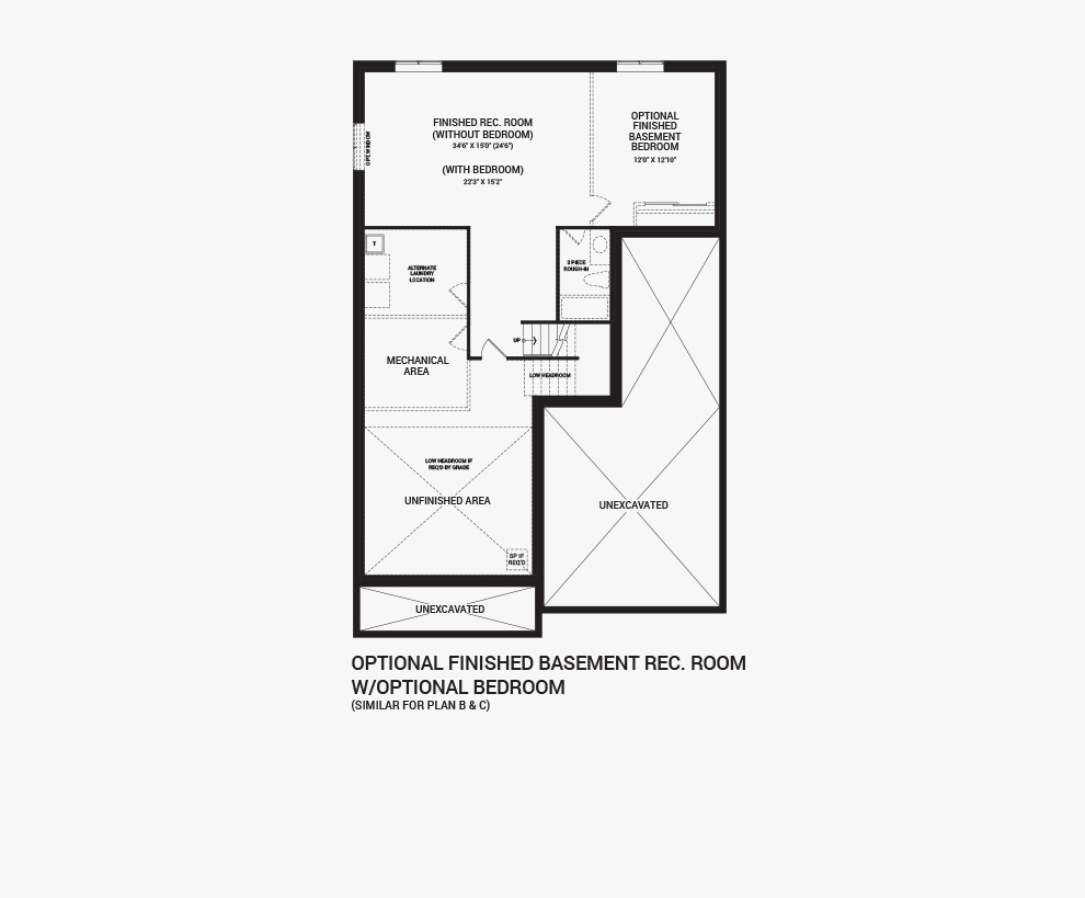 Floorplan of the Flex Plans of the Quinton home design, a 43' Single Family Home available for sale in Quinn's Pointe, Barrhaven