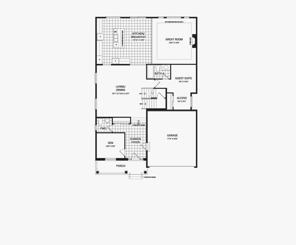 Floorplan of the main floor of the Quinton with Guest Suite home design, a 43' Single Family Home available for sale in Quinn's Pointe, Barrhaven