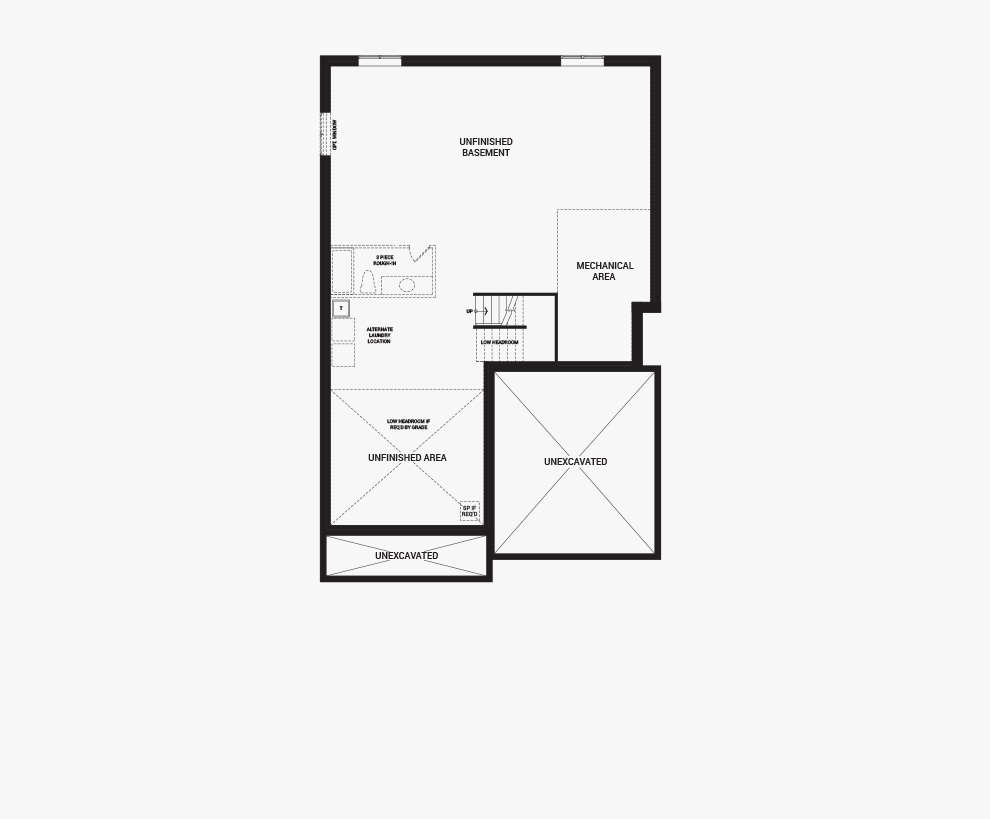 Floorplan of the basement of the Quinton with Guest Suite home design, a 43' Single Family Home available for sale in Quinn's Pointe, Barrhaven