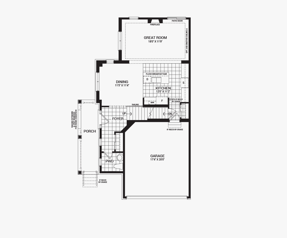 Floorplan of the main floor of the 3 bedroom Jefferson Corner home design, a 30' Single Family Home available for sale in Brookline, Kanata.