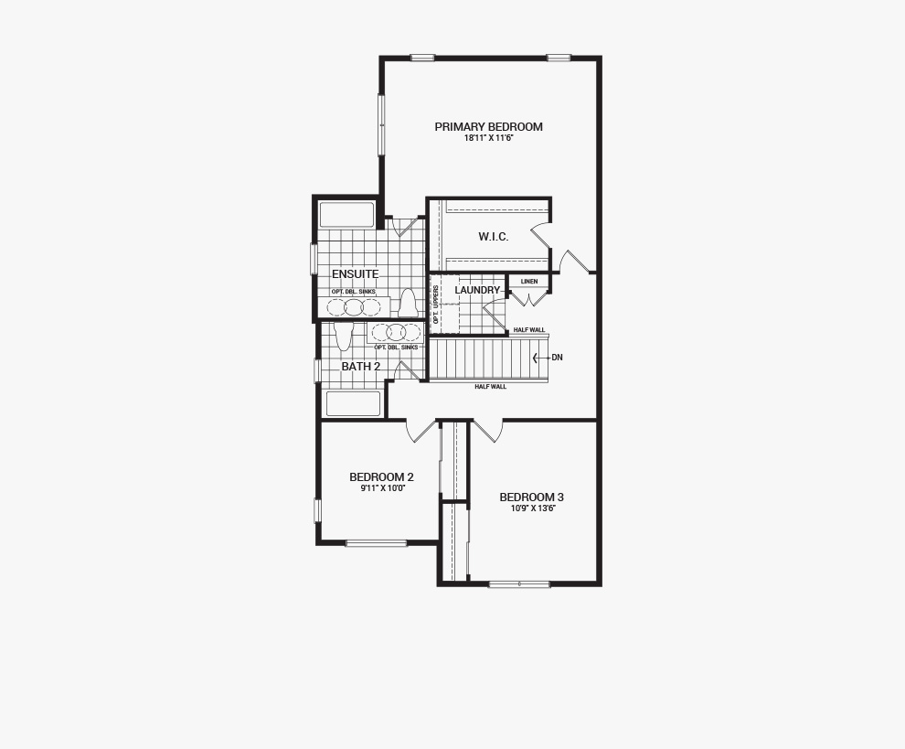 Floorplan of the second floor of the 3 bedroom Jefferson Corner home design, a 30' Single Family Home available for sale in Brookline, Kanata.