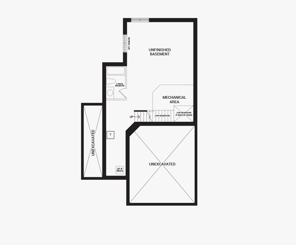 Floorplan of the basement of the 3 bedroom Jefferson Corner home design, a 30' Single Family Home available for sale in Brookline, Kanata.