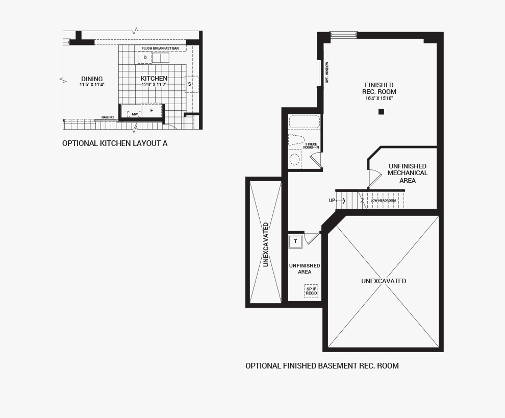 Floorplan of the flex plans of the 3 bedroom Jefferson Corner home design, a 30' Single Family Home available for sale in Brookline, Kanata.