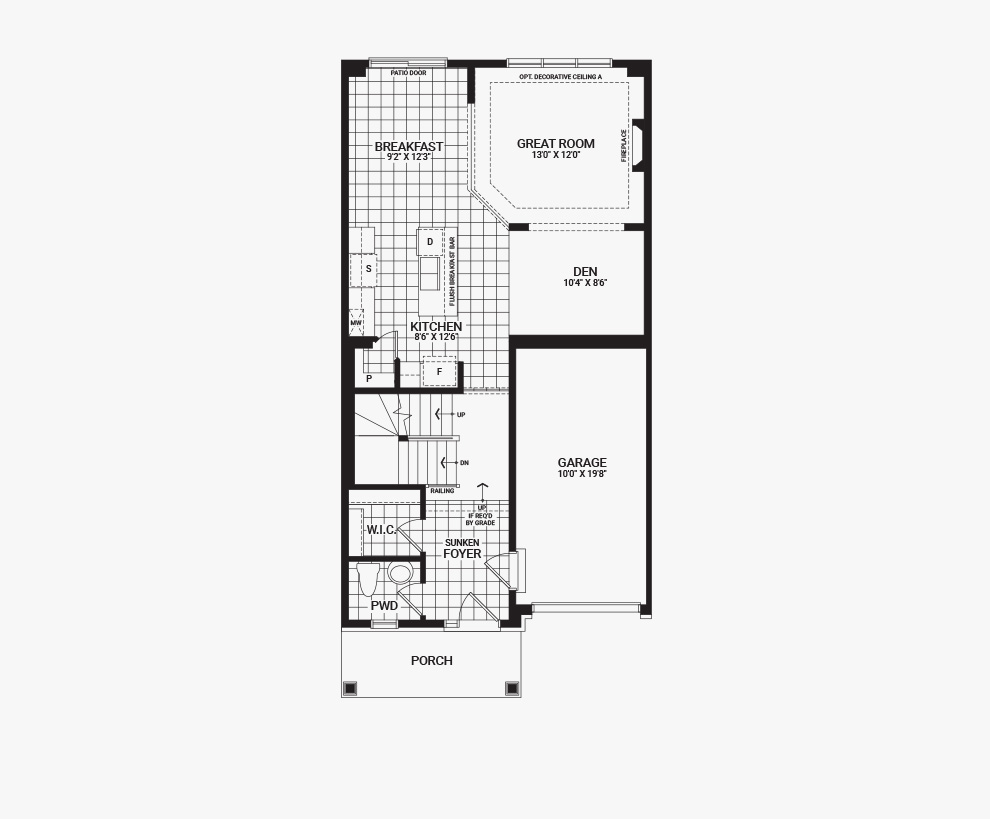 Floorplan of the main floor of the 3 bedroom Kinghurst home design, a 30' Single Family Home available for sale in Brookline, Kanata.