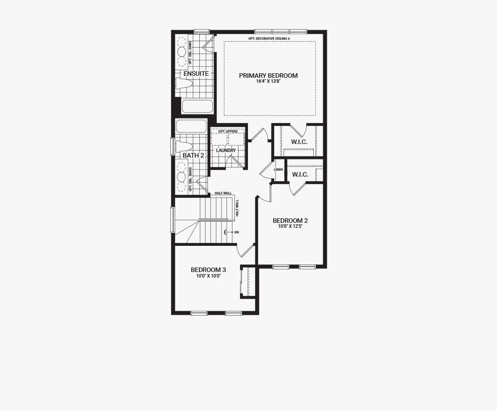 Floorplan of the second floor of the 3 bedroom Kinghurst home design, a 30' Single Family Home available for sale in Brookline, Kanata.