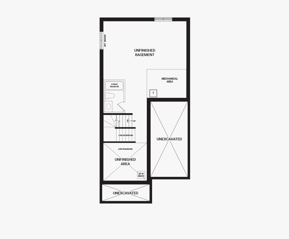 Floorplan of the basement of the 3 bedroom Kinghurst home design, a 30' Single Family Home available for sale in Brookline, Kanata.