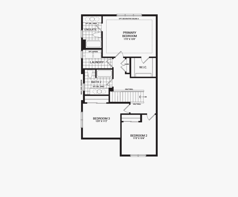 Floorplan of the second floor of the 3 bedroom Talbot Corner home design, a 30' Single Family Home available for sale in Brookline, Kanata.